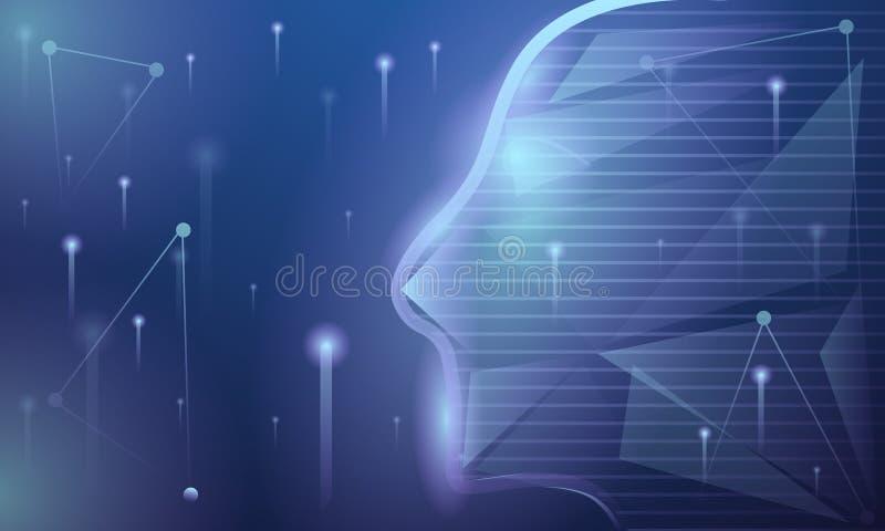 人工智能概念横幅,动画片样式 皇族释放例证