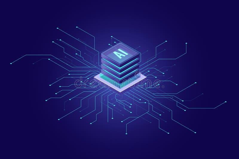 人工智能横幅,大数据,计算的云彩,机器学习,信息开采的概念等量象 库存例证