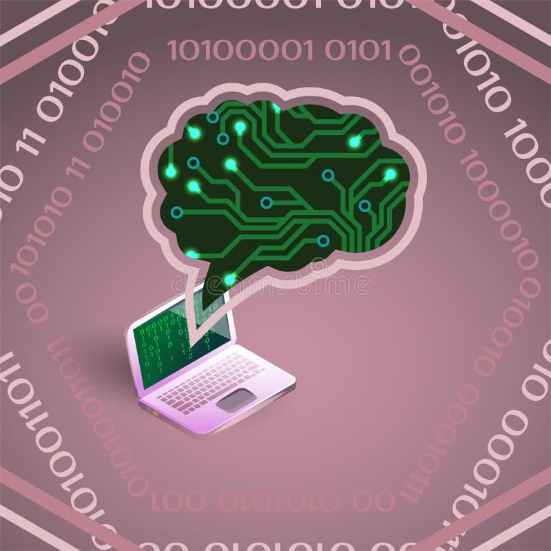 人工智能电路板和膝上型计算机的传染媒介例证在桃红色 库存例证