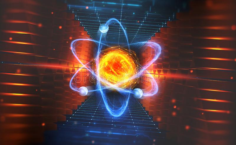 人工智能的创作 与hadronic碰撞的实验 原子的结构的调查 皇族释放例证