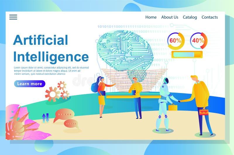 人工智能网站零件,显示信息图表,互作用过程 向量例证
