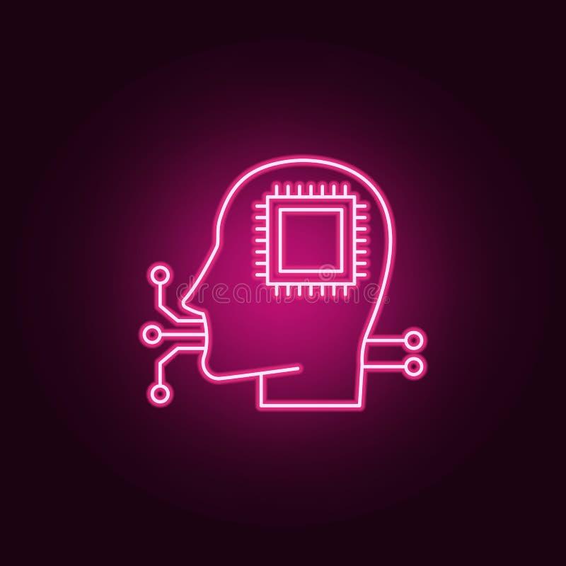 人工智能聪明的人的象 元素的人为在霓虹样式象 网站的简单的象,网络设计,流动 皇族释放例证