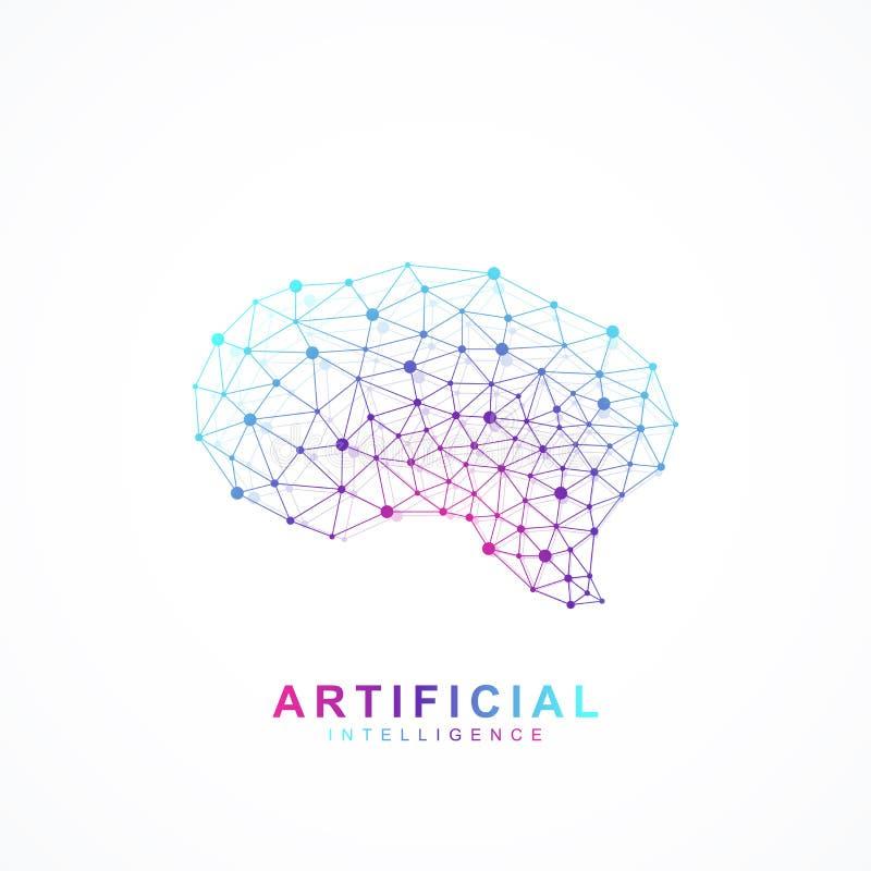 人工智能脑子商标概念 创造性的想法构思设计脑子略写法传染媒介象 向量例证