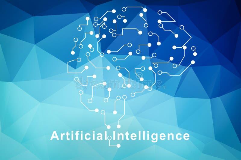 人工智能脑子标志 皇族释放例证