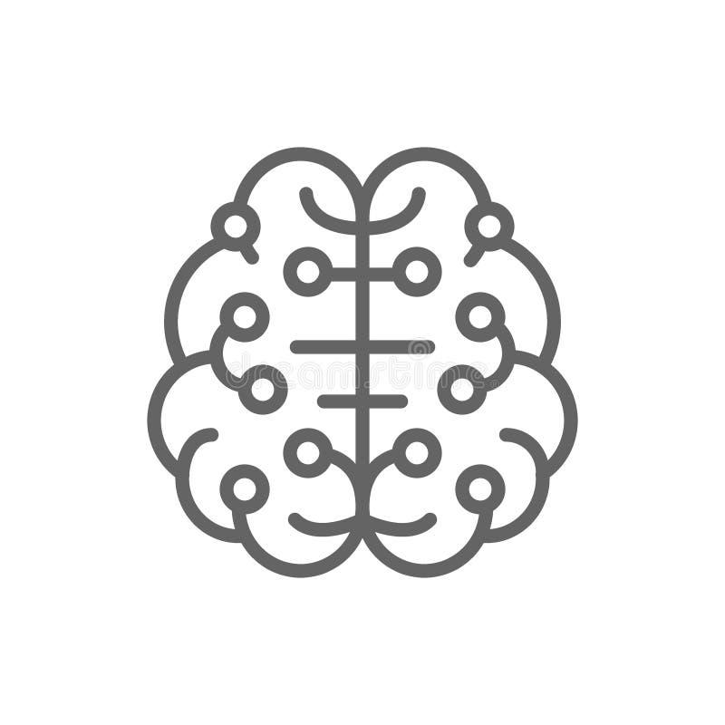 人工智能脑子,被连接到电路板,数字想法的线象 库存例证
