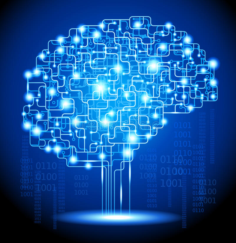 人工智能脑子 皇族释放例证