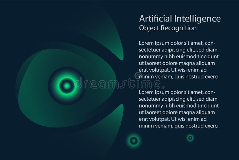 人工智能设计观念 扫描的眼睛 库存例证