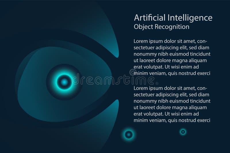 人工智能设计观念 扫描的眼睛 向量例证