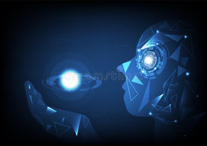 人工智能,举行行星w的能量多角形手 库存例证