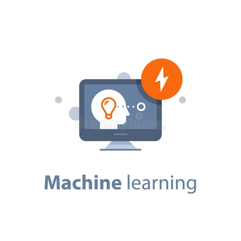 人工智能,机器学习,创造性思为,远程教育,在网上学会 向量例证
