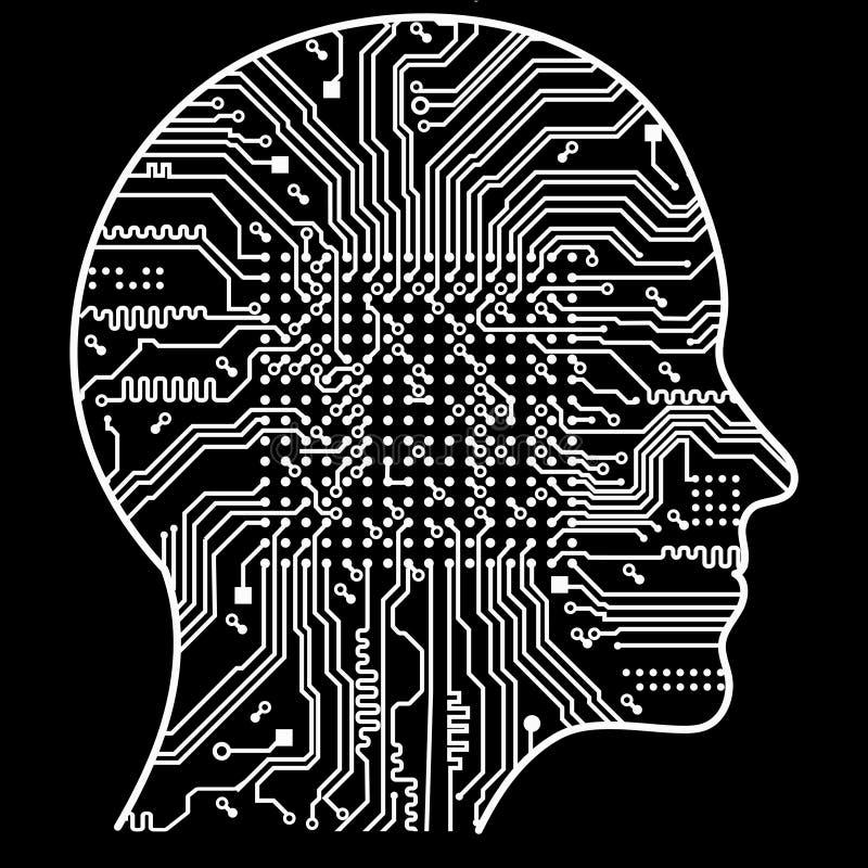 人工智能 人头概述的图象,里面的那里是一张抽象电路板 库存例证