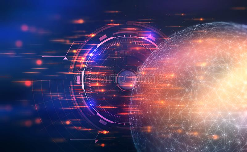 人工智能 对全球网络的控制 3D在未来派背景的例证 向量例证