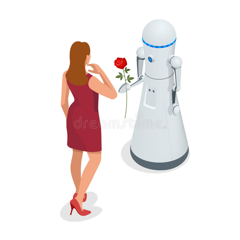 人工智能 机器人给妇女一朵玫瑰花 3月8日概念 关心和爱 库存例证