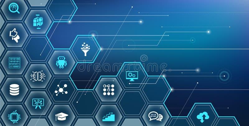 人工智能/机器学习/深深学会/IoT传染媒介例证 向量例证