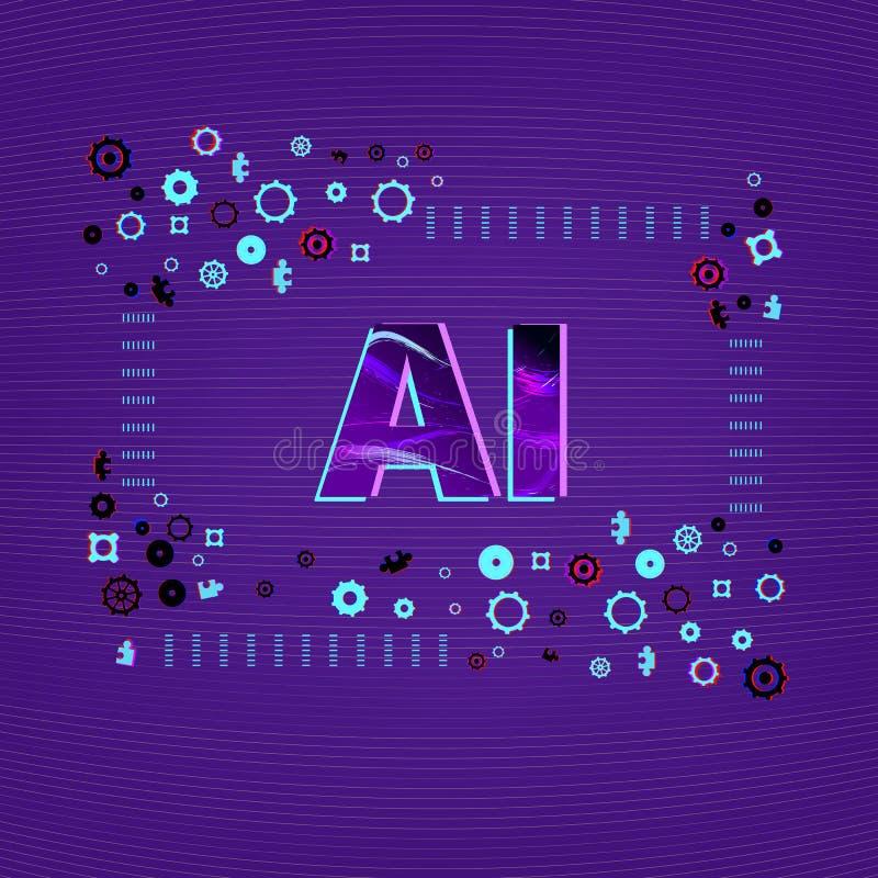 人工智能 AI信件 也corel凹道例证向量 皇族释放例证