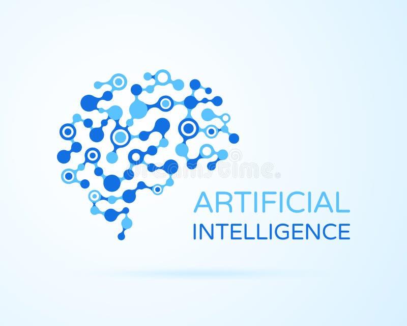 人工智能AI传染媒介商标 人为人脑 人工智能和机器学习概念 神经系统 皇族释放例证