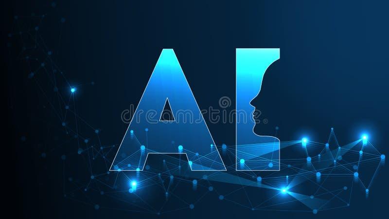 人工智能AI未来派概念 与网络头脑的人的大数据形象化 机器深刻学会 皇族释放例证