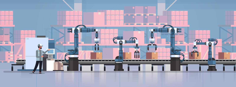 人工程师控制传送带线机器人手工厂自动化生产制造过程概念 向量例证