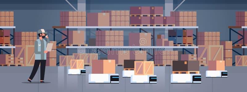 人工程师控制机器人汽车交付产品工厂自动化生产概念现代仓库室内部 向量例证