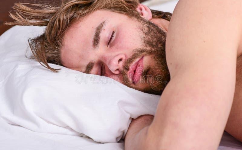 人帅哥在床上放置 得到充分和一致的相当数量睡眠每晚 在睡觉的专家的技巧更好 库存照片