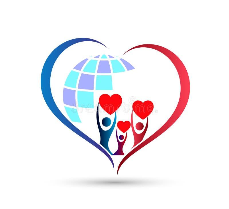 人庆祝happyness家庭地球商标/爱联合愉快的心形的家庭房子商标的联合团队工作 向量例证
