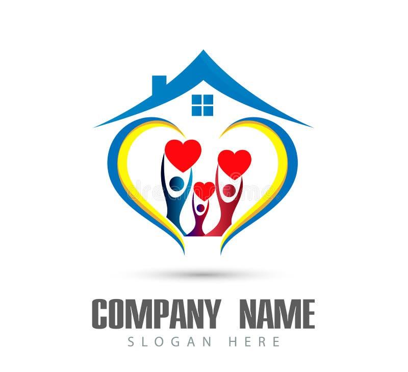 人庆祝happyness房子商标/爱联合愉快的心形的家庭房子商标的联合团队工作 皇族释放例证