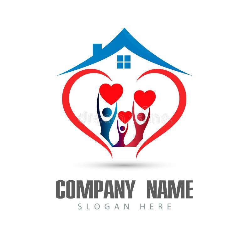 人庆祝happyness房子商标/爱联合愉快的心形的家庭房子商标的联合团队工作 库存例证