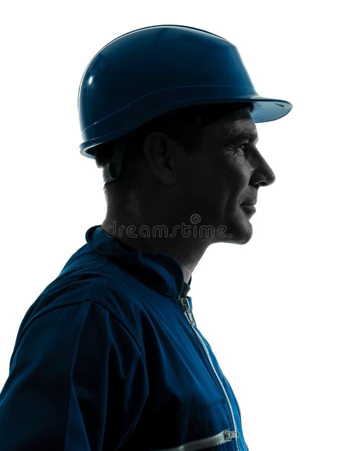 人建筑工人配置文件纵向 库存图片