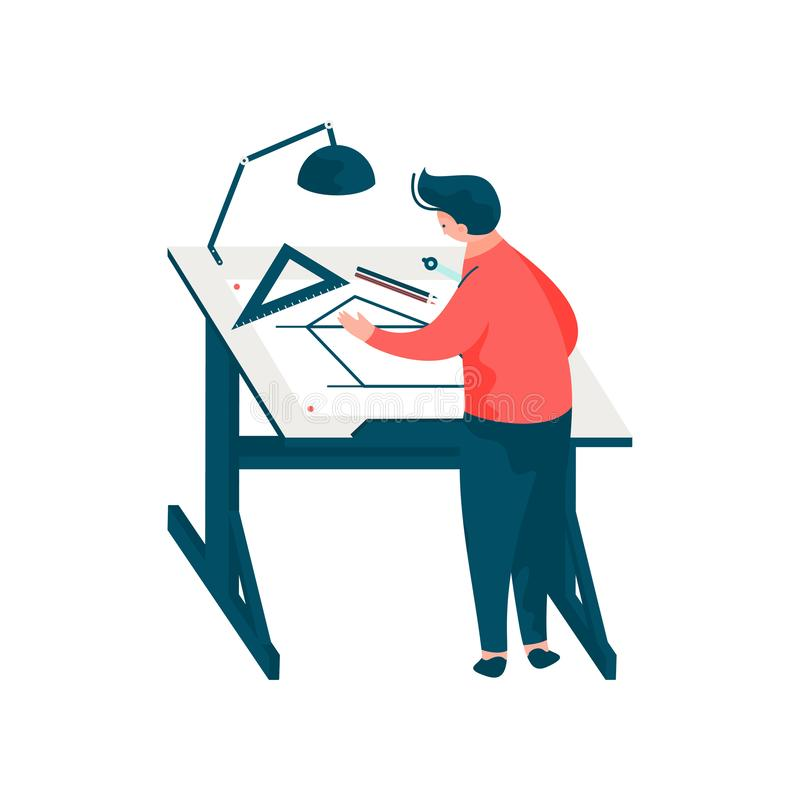 人建筑师在书桌工作坐图纸大厦计划,男性专业工程师字符传染媒介 库存例证