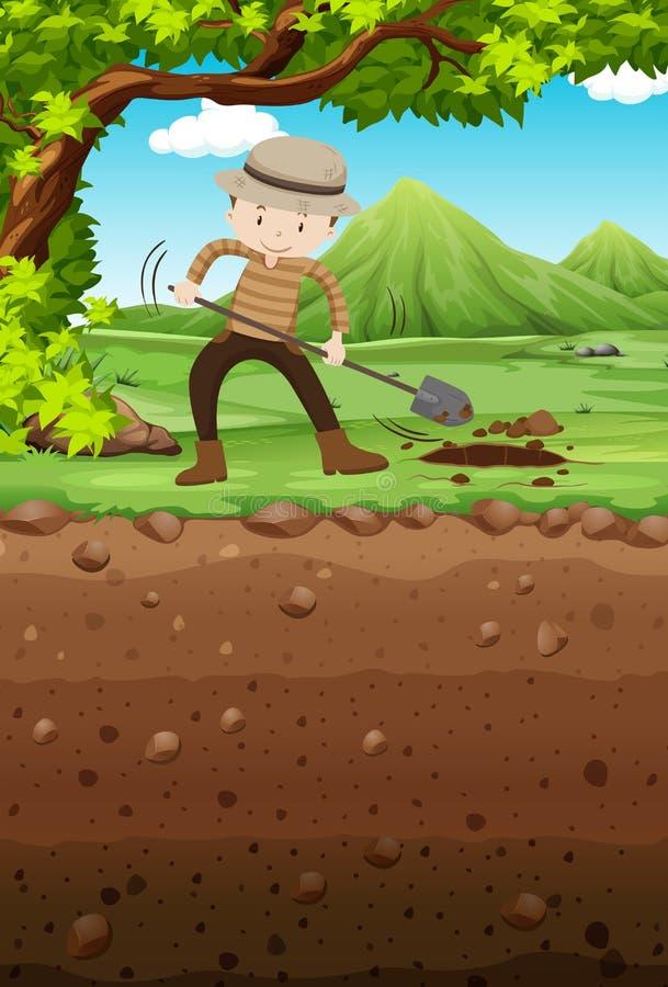 人开掘的孔在公园 库存例证