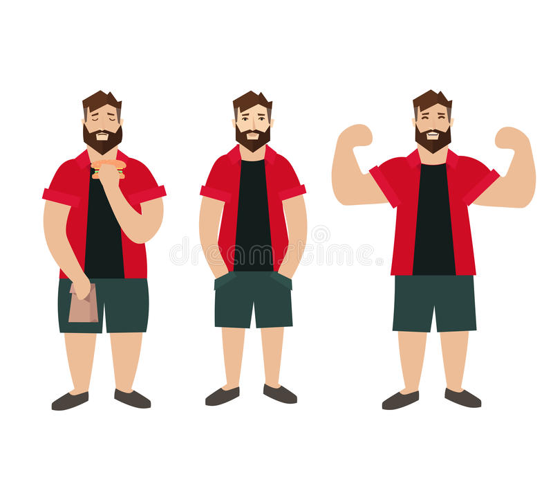 人形象肥胖正常减肥 向量 库存例证