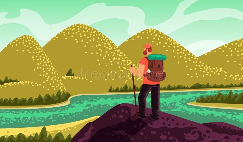 人徒步旅行者、立场在上面和看看山和河 库存例证