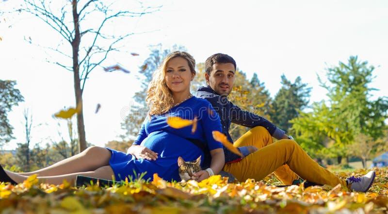 年轻人怀孕的夫妇坐黄色在公园离开 免版税图库摄影