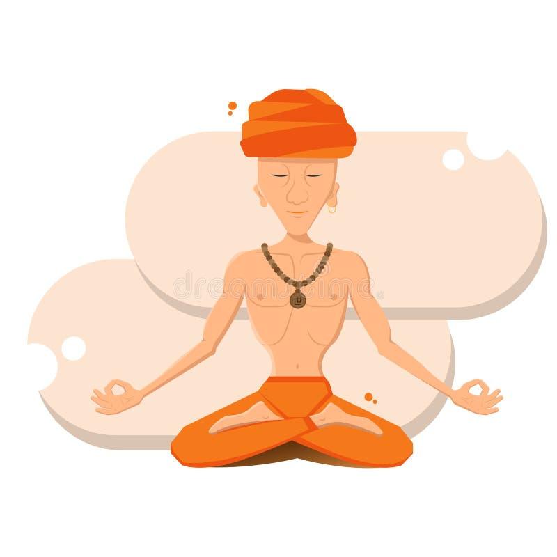 人思考 信奉瑜伽者 库存例证