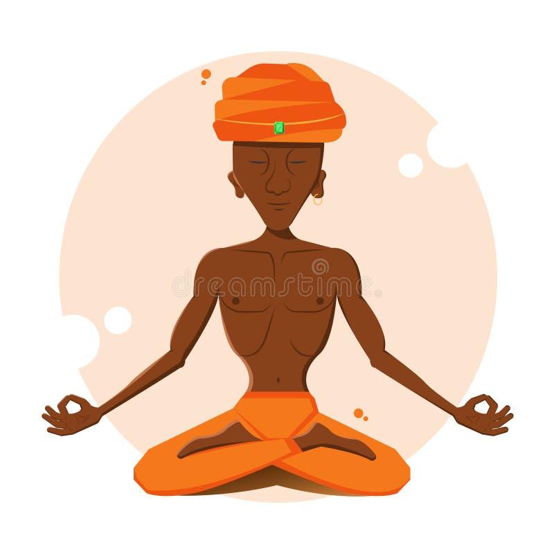 人思考 信奉瑜伽者 向量例证