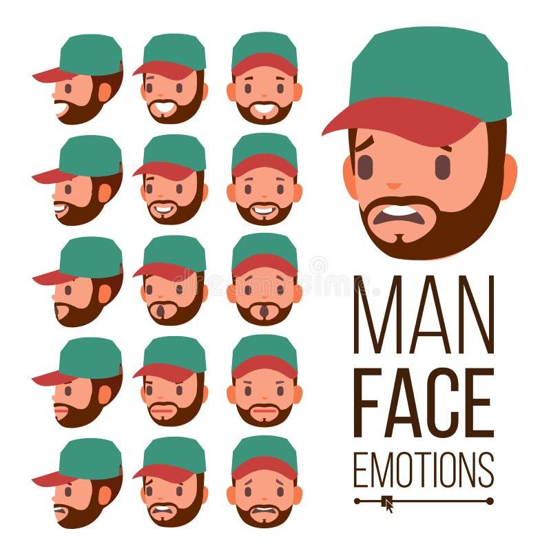人情感传染媒介 情感面孔男性品种  面部不同的表达式 平的动画片例证 库存例证