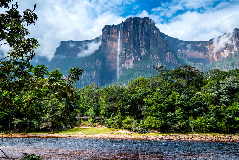 令人惊讶的安赫尔瀑布,委内瑞拉 库存图片