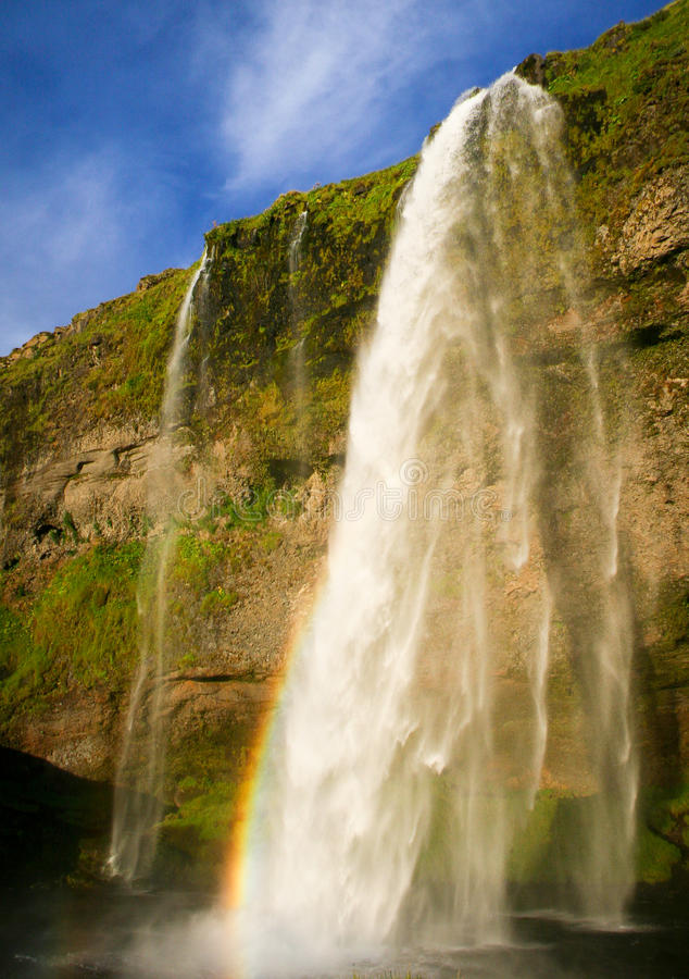 令人惊讶的Seljalandsfoss瀑布在冰岛 库存照片