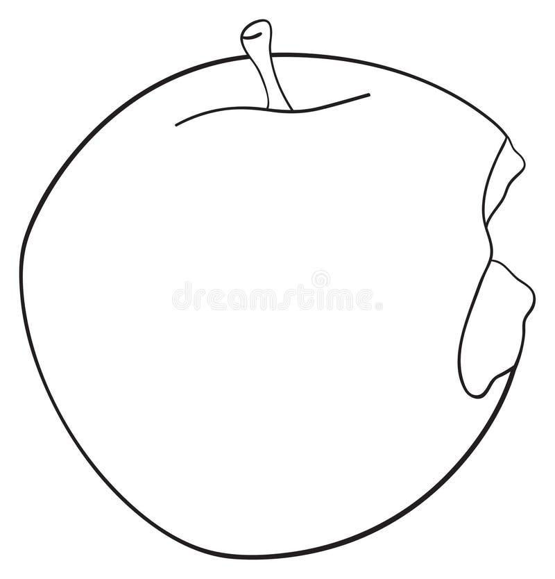令人愉快的庭院-被咬住围绕苹果 库存例证