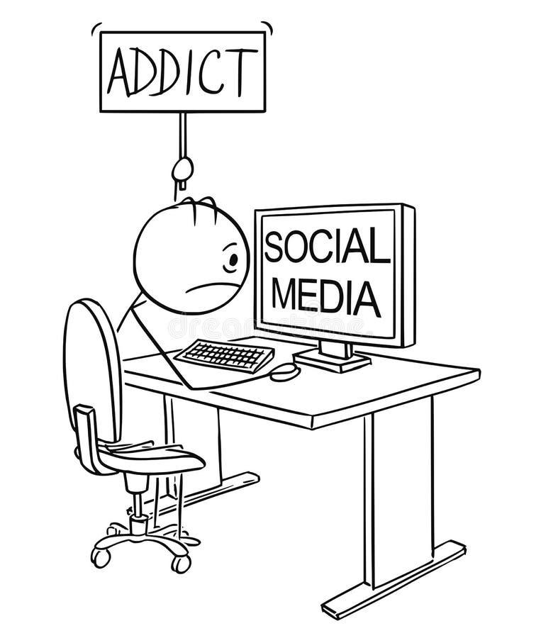 人或商人动画片使上瘾对拿着上瘾者标志的社会媒介 向量例证