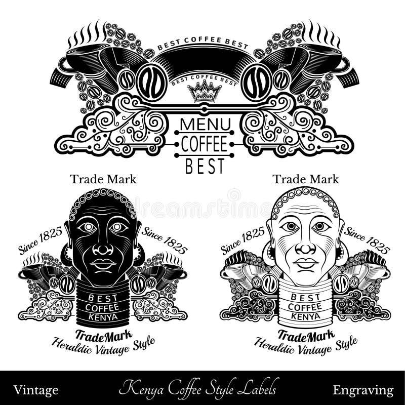 黑人或妇女有项链和最佳的肯尼亚咖啡字法的 咖啡黑白样式的剪影 向量例证