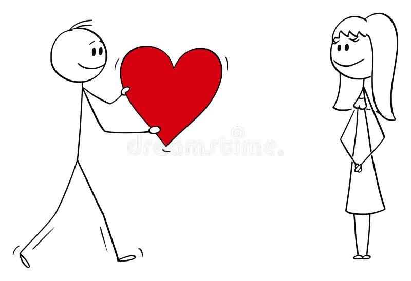 人或男孩传染媒介动画片给大浪漫红心的爱的妇女或女孩 皇族释放例证