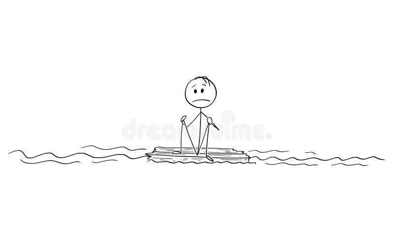 人或遭难船动画片单独坐木头在海洋中间 向量例证