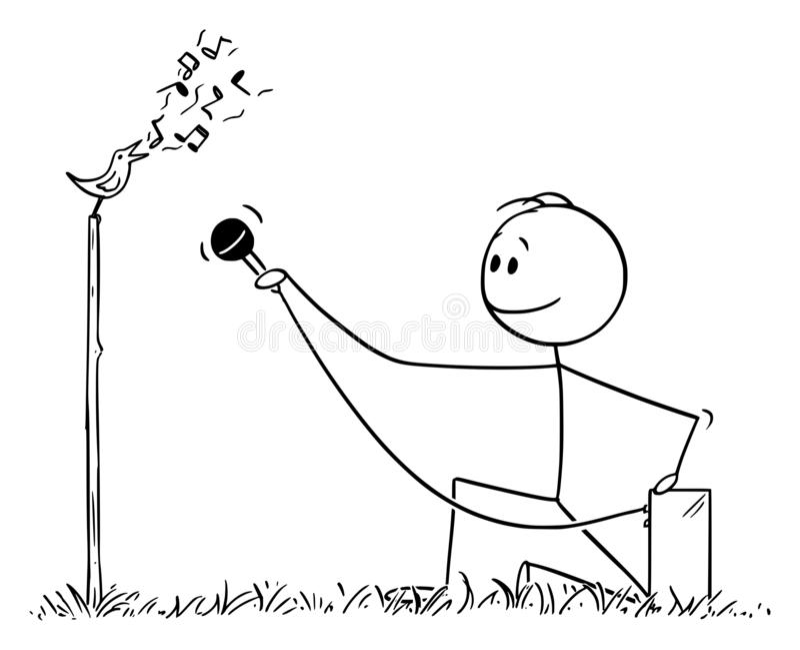 人或鸟类学家录音与话筒的鸟唱歌或鸟鸣声传染媒介动画片  皇族释放例证