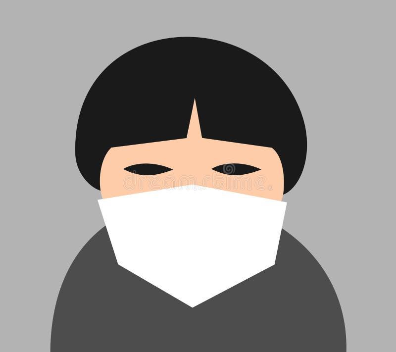 人戴着在亚洲面孔的手术口罩 皇族释放例证