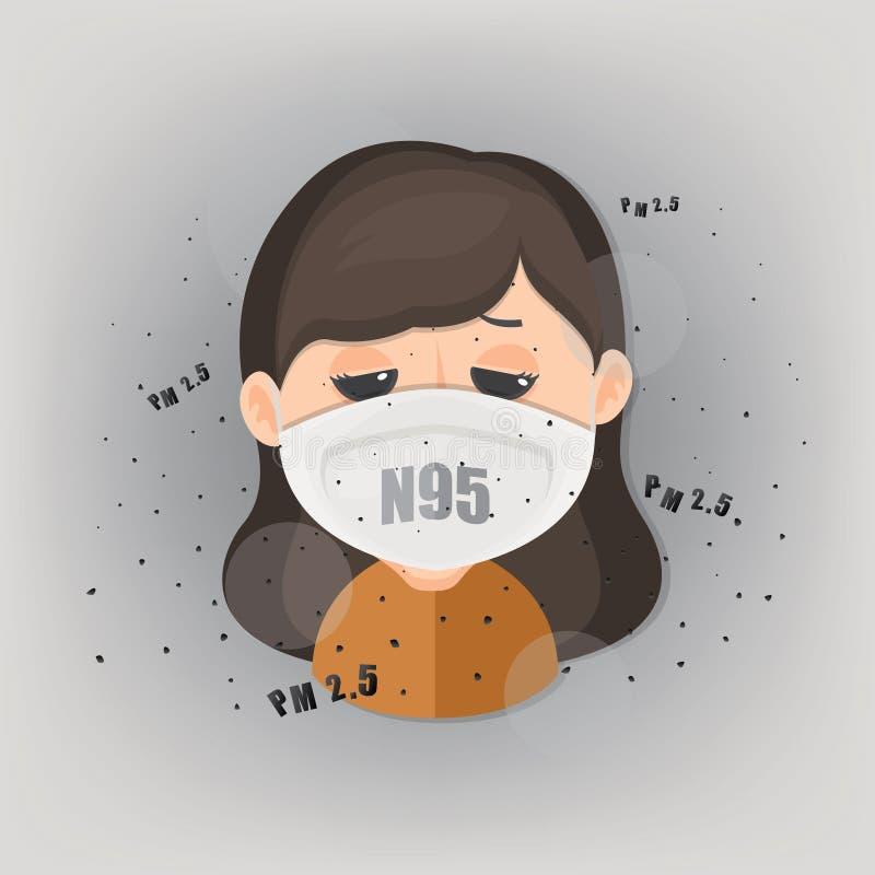 人戴着n95面具保护室外空气污染 PM 2 5在尘土米 向量例证