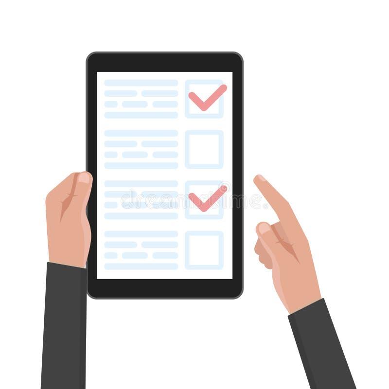人手举行有测试和投票模板的片剂计算机 也corel凹道例证向量 皇族释放例证
