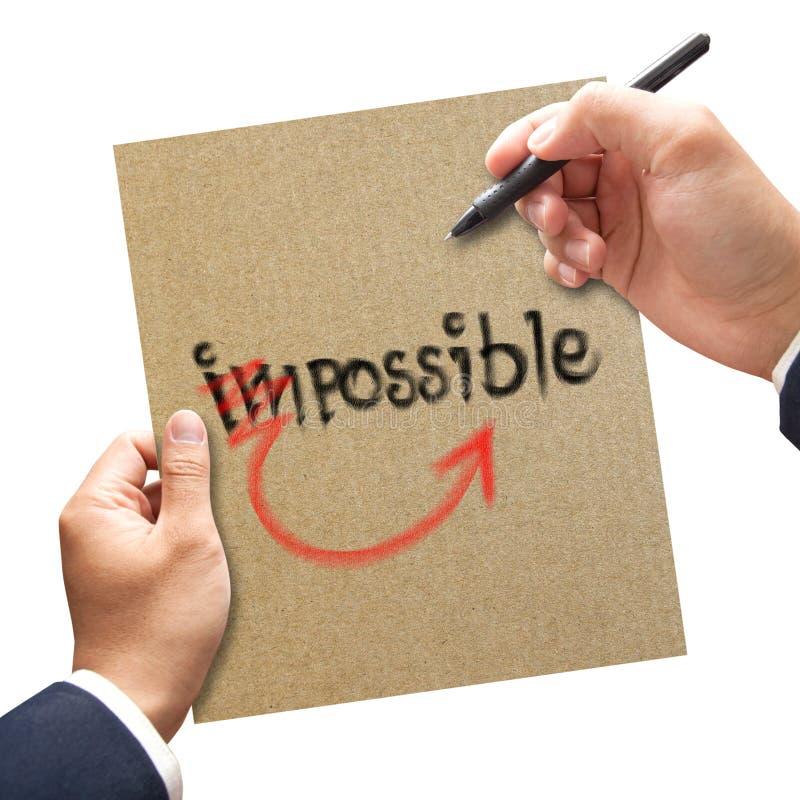 人手写可能从不可能。刺激概念 库存图片