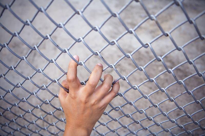 人手劫掠的钢滤网笼子 没有自由 免版税库存图片