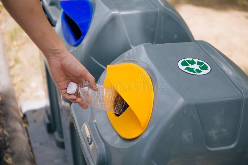 人手投掷塑料瓶到里回收垃圾箱 排序在投入的垃圾在垃圾桶前 库存图片